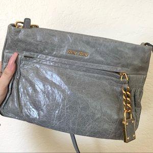 Grey Miu Miu Crossbody Bag with Gold Details
